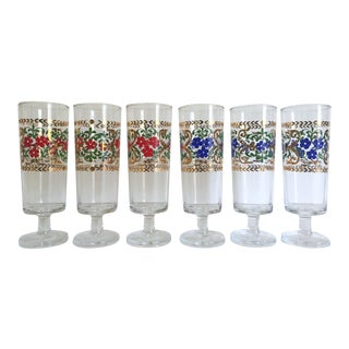 Vintage Mid Century French Floral Gold Leaf Cordial Wine Glasses - Set of 6 For Sale