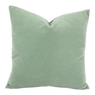 Robert Allen Forever Velvet Light Aqua Pillow Cover For Sale
