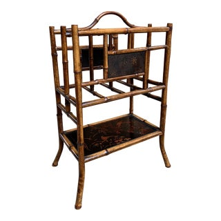Antique English Bamboo Canterbury Magazine Rack Music Stand Table Chinoiserie For Sale