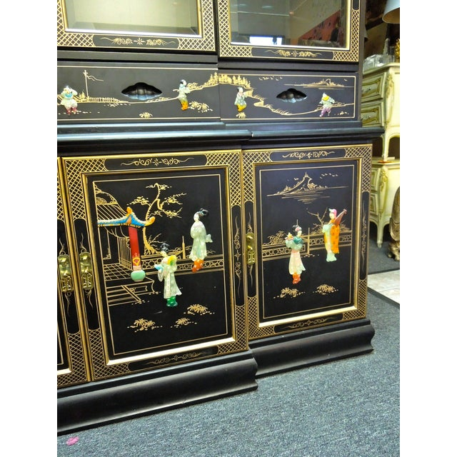Glass Very Chic 20th Century Chinoiserie Pagoda Glass Front Cabinet For Sale - Image 7 of 10