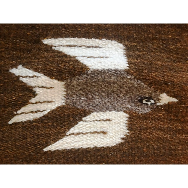 Coffee 1970s Vintage Wall Tapestry / Area Rug - 4′5″ × 6′3″ For Sale - Image 8 of 11