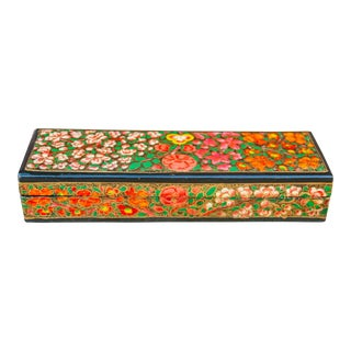 Blooming Kashmiri Painted Pencil Box For Sale