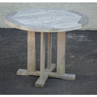 """Craftsman Style 36"""" Round Weathered Teak Patio Dining Bistro Table Preview"""