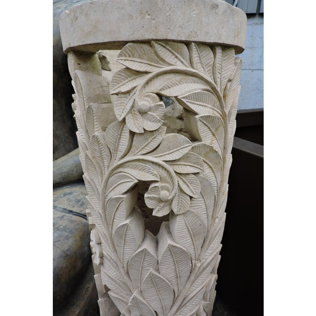 Late 20th Century Balinese Carved Stone Pedestal With Fern Motif For Sale - Image 5 of 7