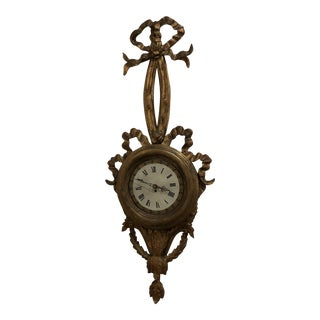 Antique French Wood Carved Wall Clock For Sale
