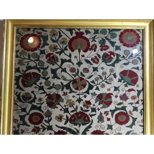 Green Hand Embroidery Silk Suzani Textile, Framed For Sale - Image 8 of 13