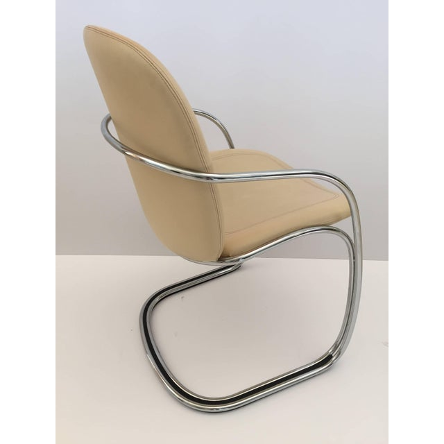 Tan 1970s Vintage Gastone Rinaldi for Rima Italian Chrome and Leather Chairs- Set of 4 For Sale - Image 8 of 11