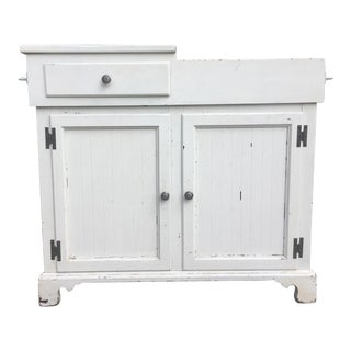 Shabby Chic Dry Sink with Copper Lining For Sale