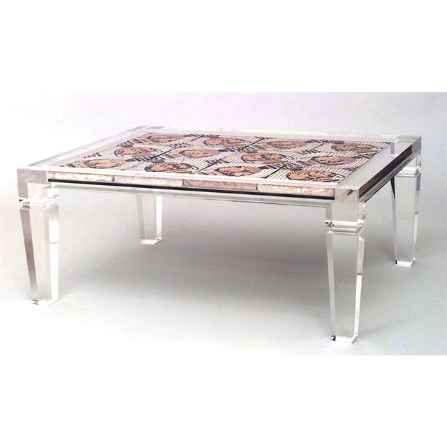 Maison Jansen 1940s French Mosaic and Lucite Coffee Table, Attributed to Maison Jansen For Sale - Image 4 of 4
