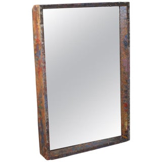 Mirror in Industrial Wood Frame Box From 1950s Auto Paint Factory For Sale