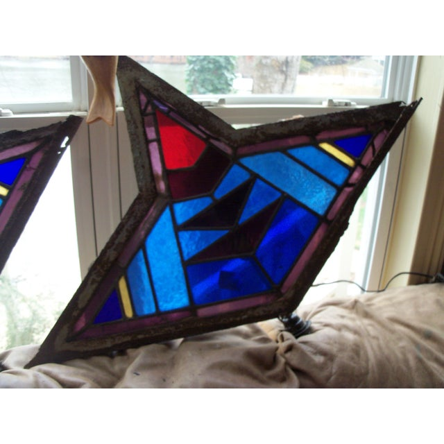 Antique Leaded Art Glass Window Sconces - A Pair - Image 3 of 10