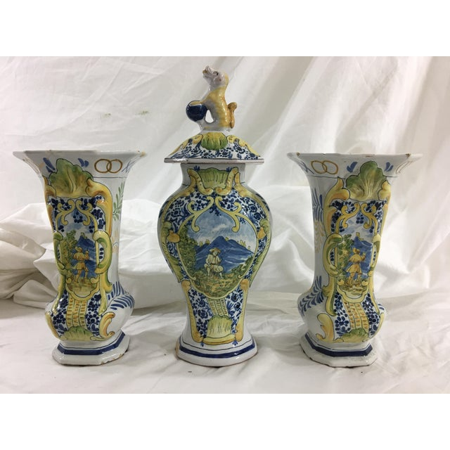 French Faience Garniture Set From Neuers Region - Set of 3 For Sale - Image 12 of 12