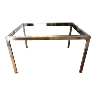 20th Century Hollywood Regency Mastercraft Expandable Brass & Glass Dining Table For Sale