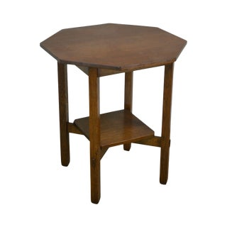 Stickley Brothers Antique Mission Oak Octagonal Lamp Table For Sale