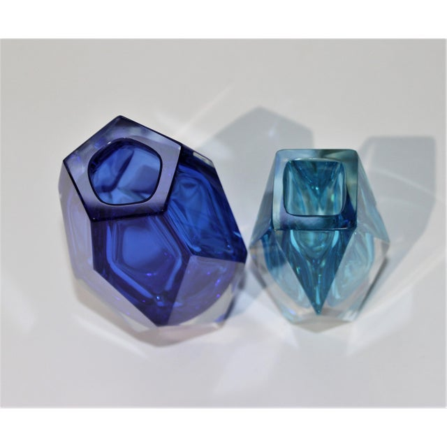 1970s Vintage Murano Artistic Cristal Vases in Turquoise and Cobalt Blue - a Set of 2 For Sale - Image 5 of 10