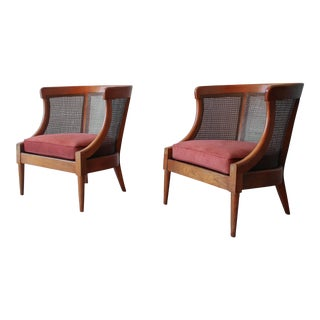 Mid Century Cane Lounge Chairs by Tomlinson For Sale