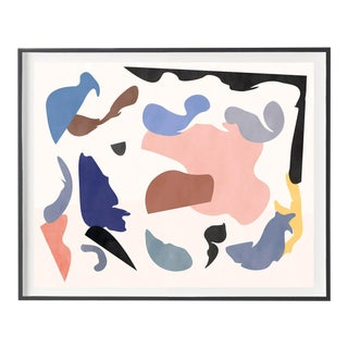 "Contemporary Colorful Abstract With Organic Graphic Shapes Print - Black Frame 52"" X 42"" For Sale"