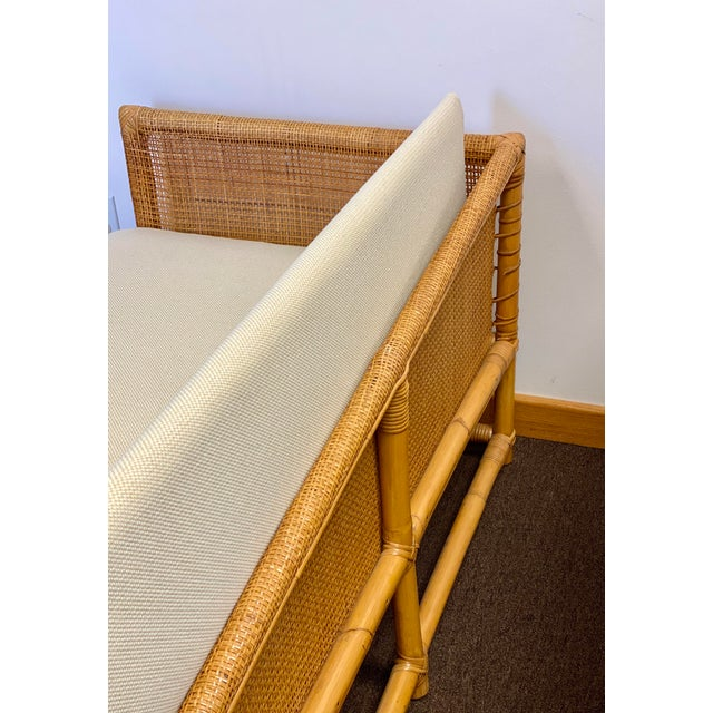 1960s 1960s Bamboo and Rattan Reupholstered Daybed For Sale - Image 5 of 12