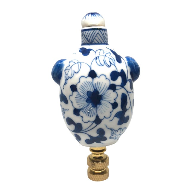 Chinoiserie Blue and White Porcelain Snuff Bottle Lamp Finial For Sale