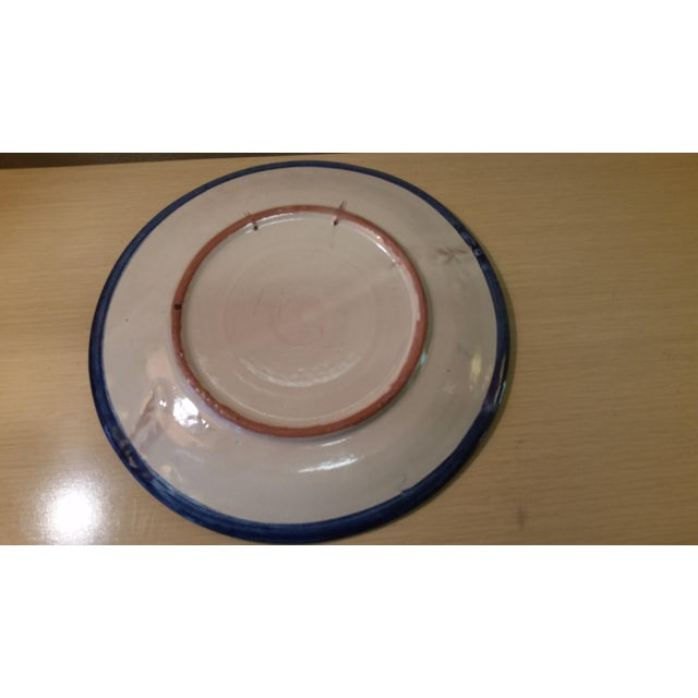 Vintage Mexican Redware Grapes Decorative Plate For Sale - Image 4 of 5