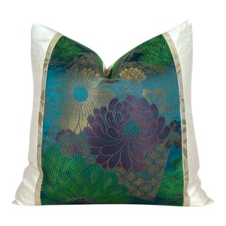 Antique Japanese Silk Obi Lotus Flower Pillow Cover For Sale