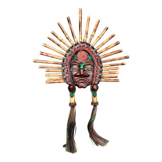 Antique Bamboo and Leather Tribal Mask For Sale