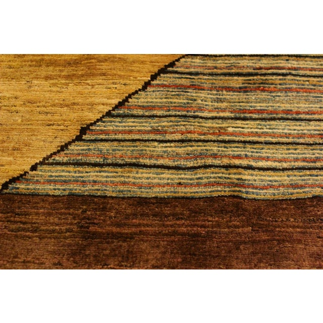 Gabbeh Peshawar Valentin Brown/Gold Hand-Knotted Wool Rug -3'0 X 4'8 For Sale In New York - Image 6 of 8