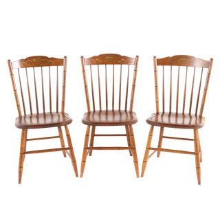 L. Hitchcock, Gilt-Stenciled Maple Dining Fan Back Windsor Style Harvest Side Chairs - Set of 3 For Sale