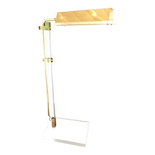 Mid-Century Brass and Lucite Adjustable Table/Floor Lamp W Swing Arm For Sale