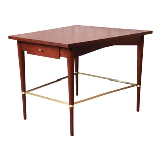 Paul McCobb Connoisseur Collection Mahogany and Brass Wedge Side Table, Newly Restored For Sale