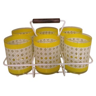 Retro Lattice Print Barware Glasses with Caddy