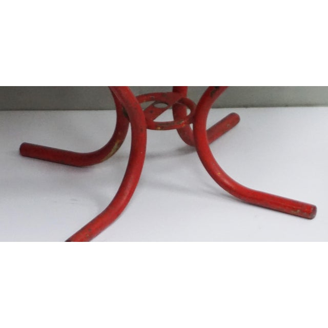 1960s Vintage Red French Bistro Table For Sale - Image 5 of 7