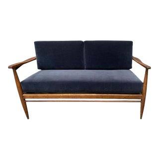 Mid-Century Reupholstered Velvet Settee For Sale