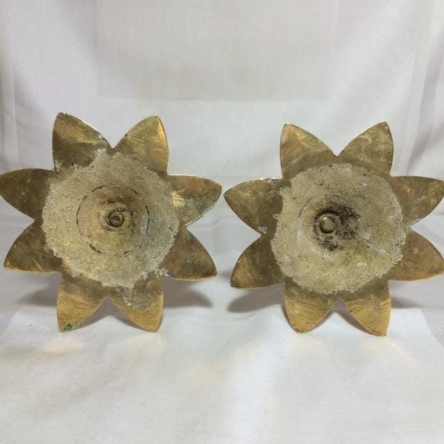 Brass Spiral and Leaf Candle Holders - A Pair - Image 4 of 4