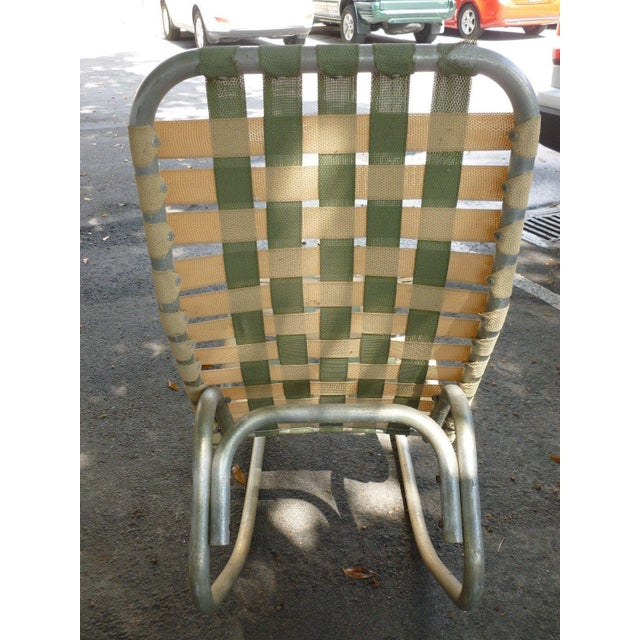 Aluminum 1950s Vintage Aluminum Webbed Surfboard Pool Rocking Lounge Chair For Sale - Image 7 of 9