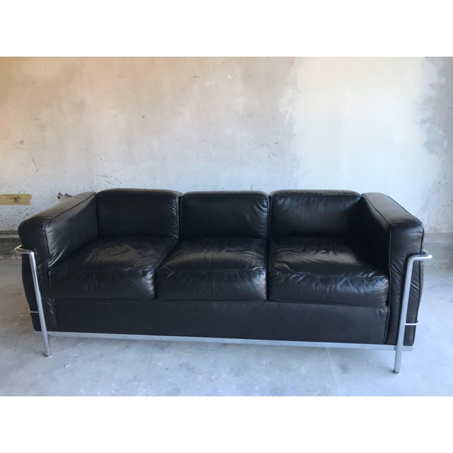 Black 1980s Le Corbusier Lc2 Three Seat Sofa For Sale - Image 8 of 8