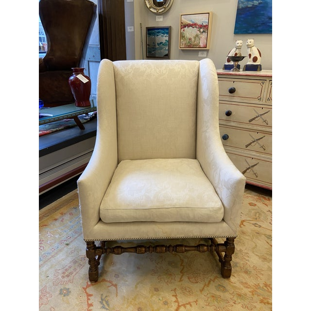 Damask Fabric Chair With Down Cushion and Mahogany Frame For Sale - Image 12 of 12