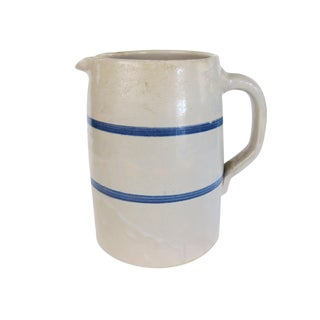 Vintage White and Blue Striped Pottery Stoneware Crock Pitcher For Sale