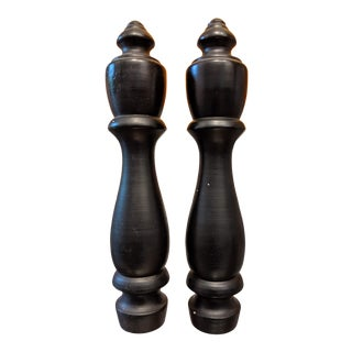 Oversize Black Turned Wood Lamp Finials - a Pair For Sale