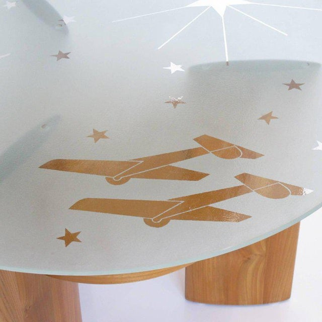 Art Deco Saint Gobain Glass-Top Etched Aviation Coffee Table - Image 6 of 11
