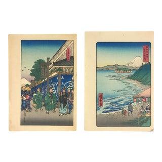 Mid 20th Century Utagawa Hiroshige Ukiyo-E Woodblock Prints From the 36 Views of Mount Fuji Series #2 & #19 - a Pair For Sale