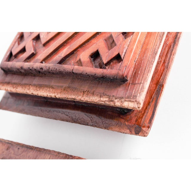 Chinese Hand-Carved Wooden Geometric & Figural Panels - Set of 4 - Image 5 of 11