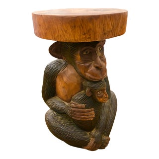 Hand Carved Wood Mama and Baby Monkey Stool For Sale