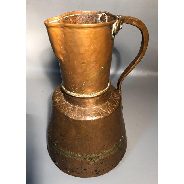 Primitive 19c Pitcher Hand Hammered Copper Brass Large Moonshine Still Jug Kettle Pot Vase For Sale - Image 10 of 10