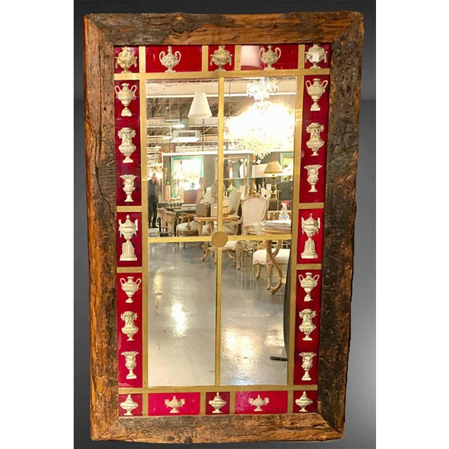 Red Rustic Italian Wall Mirror With Reverse Painted Classical Vases and Urns For Sale - Image 8 of 13
