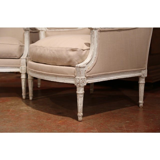 19th Century French Louis XVI Carved Painted Armchairs With Beige Fabric - a Pair For Sale - Image 4 of 9