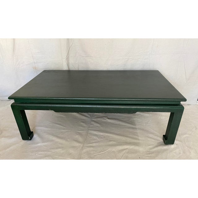 Classic linen/grasscloth wrapped ming style coffee table. Streamlined chinoiserie shape with great textured surface....