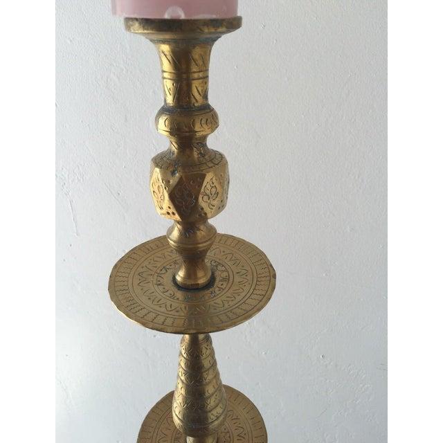 Brass Boho Floor Candleholder For Sale - Image 4 of 5