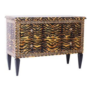 Midcentury Faux Tiger Italianate Commode or Chest For Sale