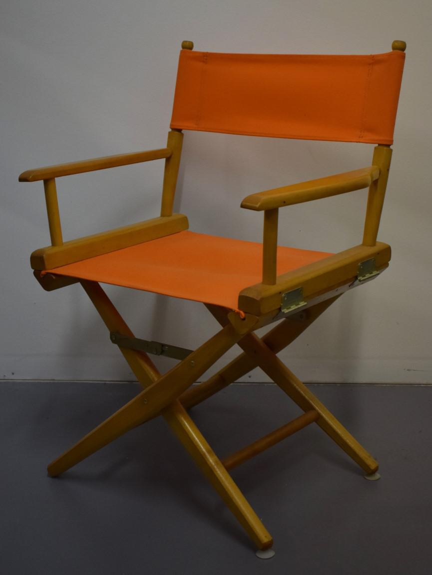 Hermes Orange Canvas Directoru0027s Chairs   A Pair For Sale   Image 4 ...